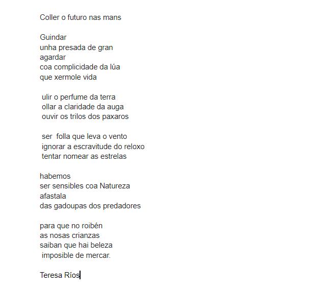 Coller o futuro nas mans, Teresa Ríos